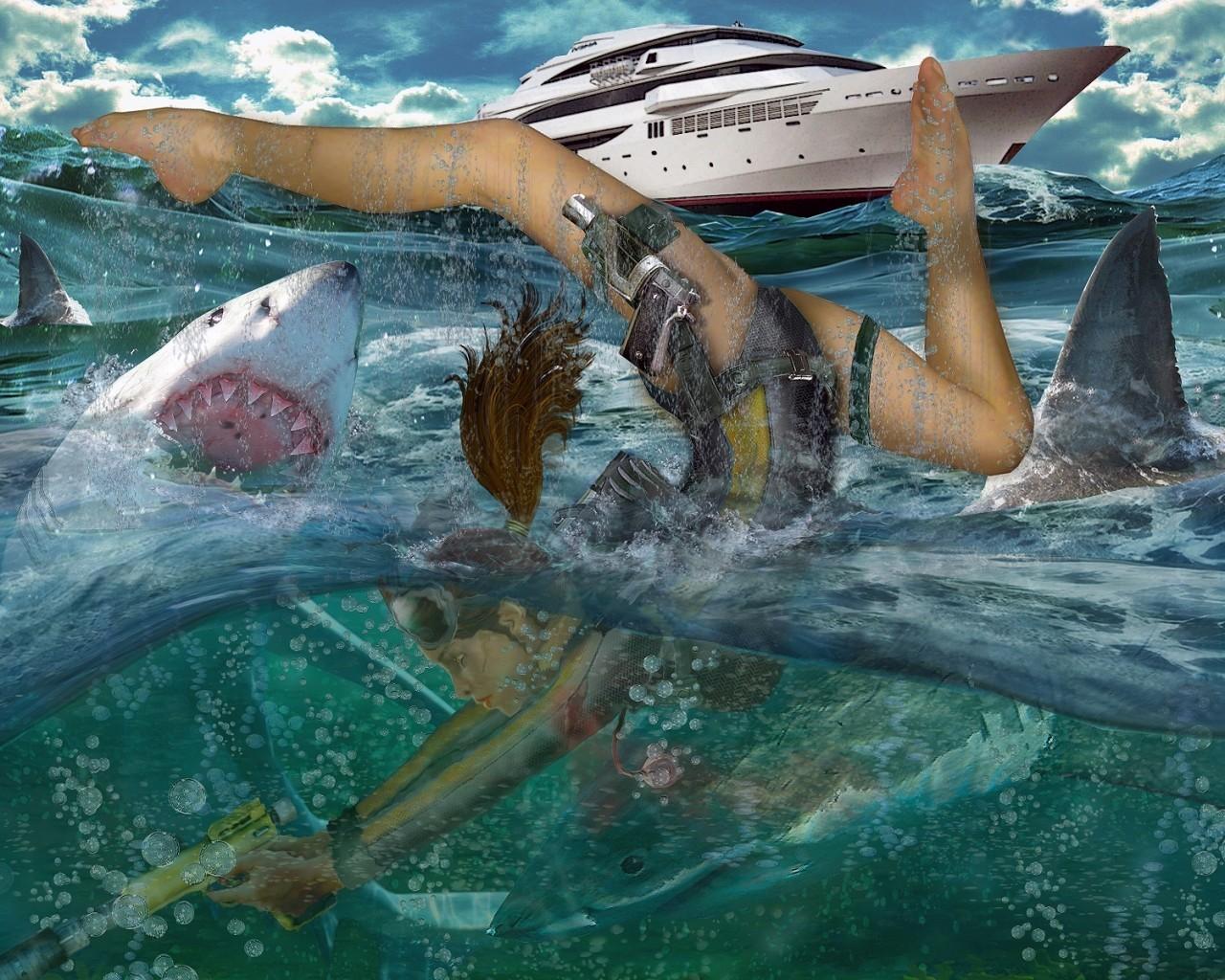 лара крофт подводная лодка
